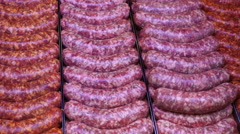 Sausage meet sausages meat Stock Footage