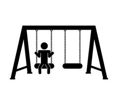 Green area and Playground object design. swing icon. vector grap - stock illustration