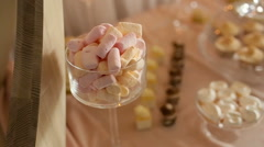 Video wedding decor sweets on the table Stock Footage