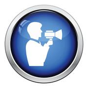 Man with mouthpiece icon Stock Illustration