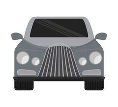 Grey automobile ahead. Transportation icon. vector graphic - stock illustration