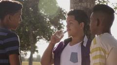 Teenagers Boys Smoking E-cig Electronic Cigarette Stock Footage