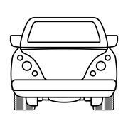 Silhouette of ahead automobile car. Transportation icon. vector Stock Illustration