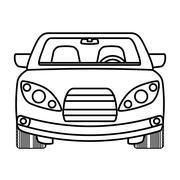 Silhouette of ahead automobile car. Transportation icon. vector - stock illustration