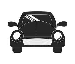Silhouette of ahead automobile car. Transportation icon. vector - stock illustration