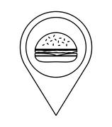 Fast and Street food concept. Eating outside. hamburger icon. Ve - stock illustration