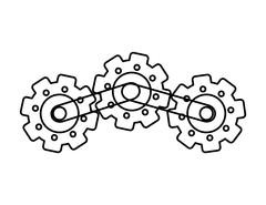 Process and Solution concept. gear icon. Vector graphic - stock illustration