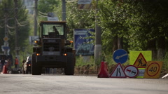 Traffic signs installed in the pile, during road repair Stock Footage