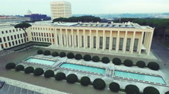 Fascist architecture in Eur,  Rome, Piazzale Konrad Adenauer. Aerial N Stock Footage