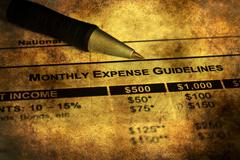 Monthly budget plan grunge concept - stock photo