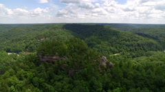 Aerial Red River Gorge / Daniel Boone National Forrest in Appalachian Mountains Stock Footage