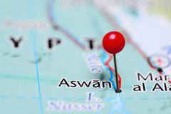 Aswan pinned on a map of Egypt - stock photo