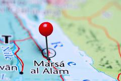 Marsa al Alam pinned on a map of Egypt - stock photo