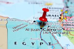 Cairo pinned on a map of Egypt - stock photo