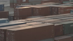 Busiest Container Port In Sunset Stock Footage