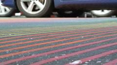 LGBT Rainbow Sidewalk Stock Footage