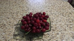 Full Plate of Red Cherry is Standing on Tabletop Stock Footage