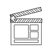 Movie concept. classic clapboard icon. vector graphic - stock illustration