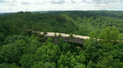 Aerial Hikers, Rock Bridge, Daniel Boone Forrest, Appalachian Mountains Stock Footage