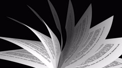 Book's page turning on black background. 4K Loopable animation Stock Footage