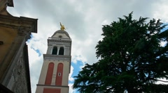 The bell tower and the church Stock Footage