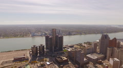 Detroit Aerial of cityscape Stock Footage