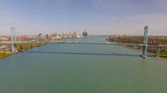 Detroit Aerial over bridge - stock footage