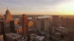 Detroit Aerial over downtown Stock Footage