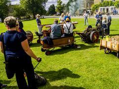 steam engine fair - stock photo
