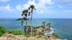 Laem Phrom Thep Cape Viewpoint in Phuket, Thailand Stock Footage