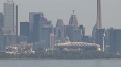 Toronto hot summer hazy skyline establishing shot Stock Footage