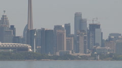 Toronto hot summer hazy skyline establishing shot - stock footage