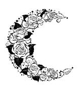 The crescent of contour roses Stock Illustration