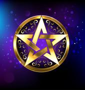 magic gold star - stock illustration