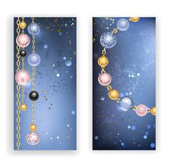 two banners with beads - stock illustration