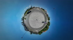 360Vr Video Man is Walking by Road City Traffic Sun Shines Cars Driven by a Stock Footage