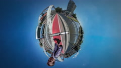 360Vr Video Man is Walking Jumping by Bridge Red Bicycle Lane Backpacker Takes Stock Footage