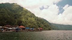 Trunyan village view from Lake Batur Stock Footage