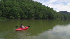 Aerial of Canoe in Red River, Daniel Boone Forrest, Appalachian Mountains Stock Footage