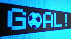 "Running lines with text ""goal !!!"" and rolling a soccer-football ball light-blue Stock Footage"