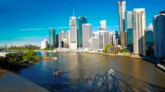 Brisbane Skyline with ferries on the river. Stock Footage