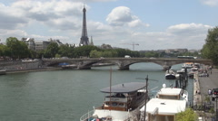 Paris Landscape Panoramic View Seine River Old Bridge Tour Eiffel Traffic Boat. - stock footage
