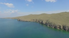 Lake Baikal. Olkhon island. aerial survey - stock footage