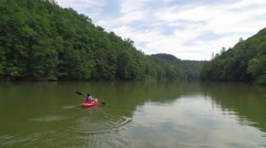 Aerial of Kayak on Red River, Daniel Boone Forrest in Appalachian Mountains Stock Footage