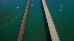 Florida Keys Aerial over bridge Stock Footage