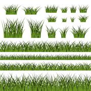 Green grass seamless pattern and bushes - stock illustration