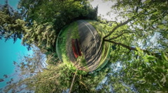 360Vr Video Bench by Park Alley Street Lamp Road in Park is Marked Green Trees - stock footage