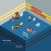 Isometric Auction Element Icon Set - stock illustration
