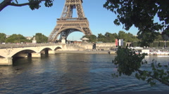 Seine River Touristic Port Pont d'Iena Bridge Eiffel Tower Background View. Stock Footage