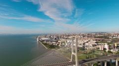 Vasco de Gama bridge aerial view Lisbon Portugal Stock Footage